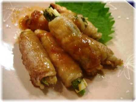 豚肉生姜巻き梅ソース